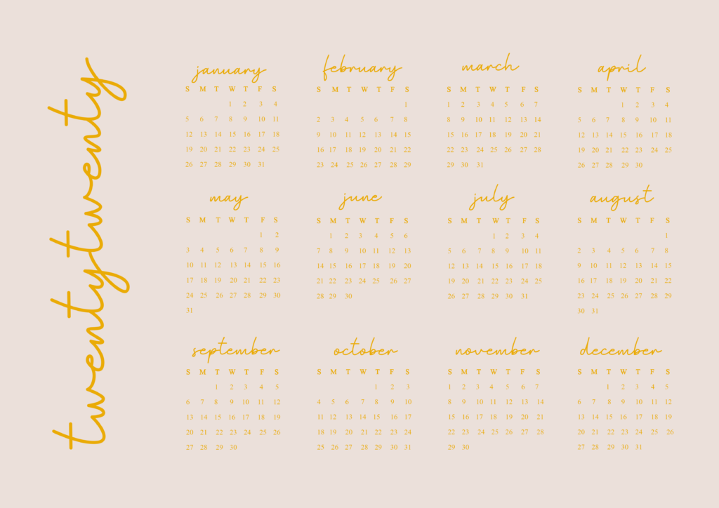 Twenty Twenty Year View Calendar - Landscape