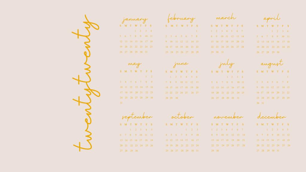 Twenty Twenty Year View Calendar - Free desktop wallpaper download