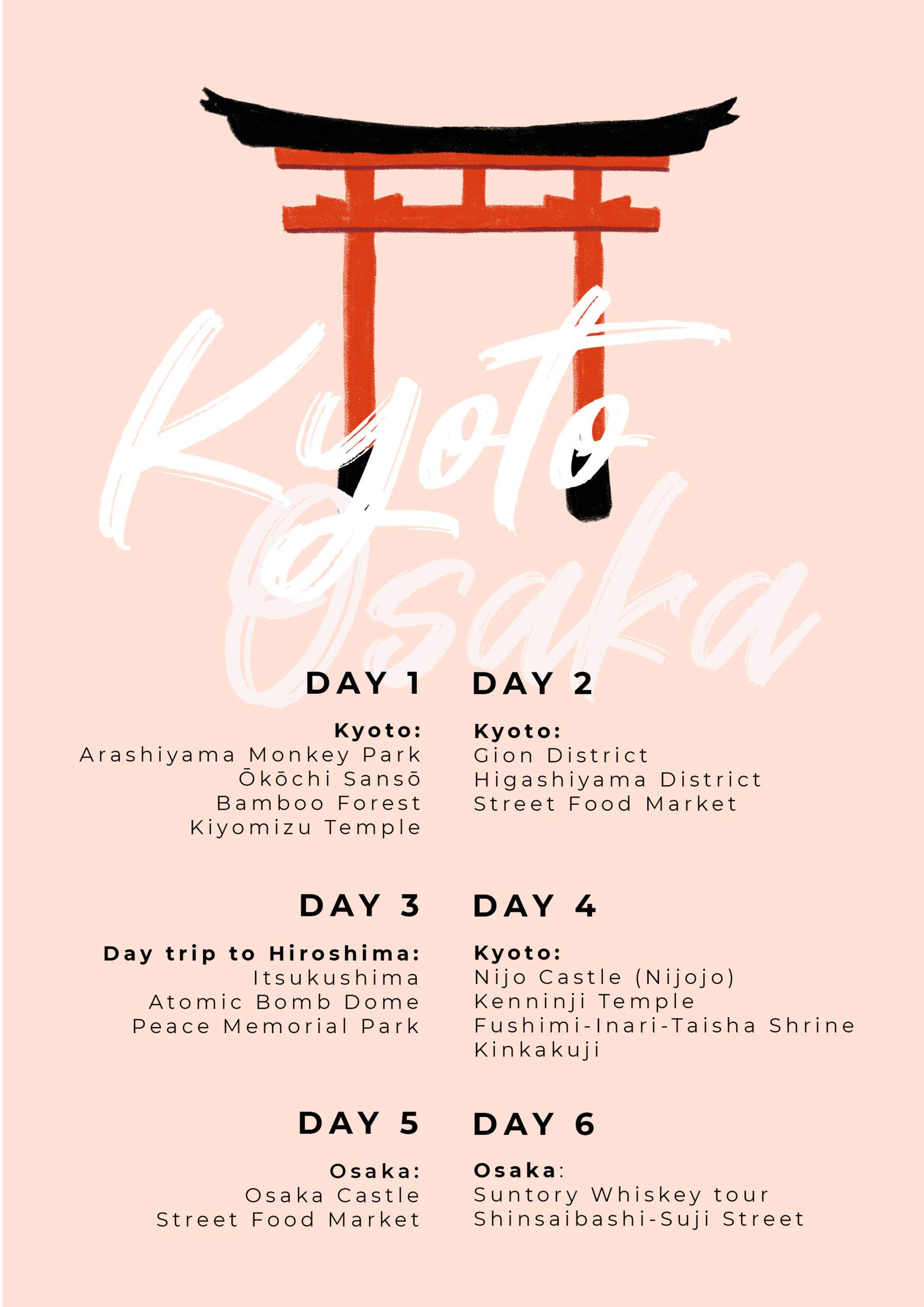Kyoto & Osaka Travel Itinerary